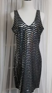 Stunning Black and Silver Sequince Dress LARGE